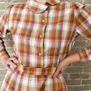 Vintage 70s plaid two piece set
